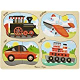 Melissa & Doug Vehicles 4-in-1 Wooden Peg Puzzle - Train, Airplane, Car, and Tugboat