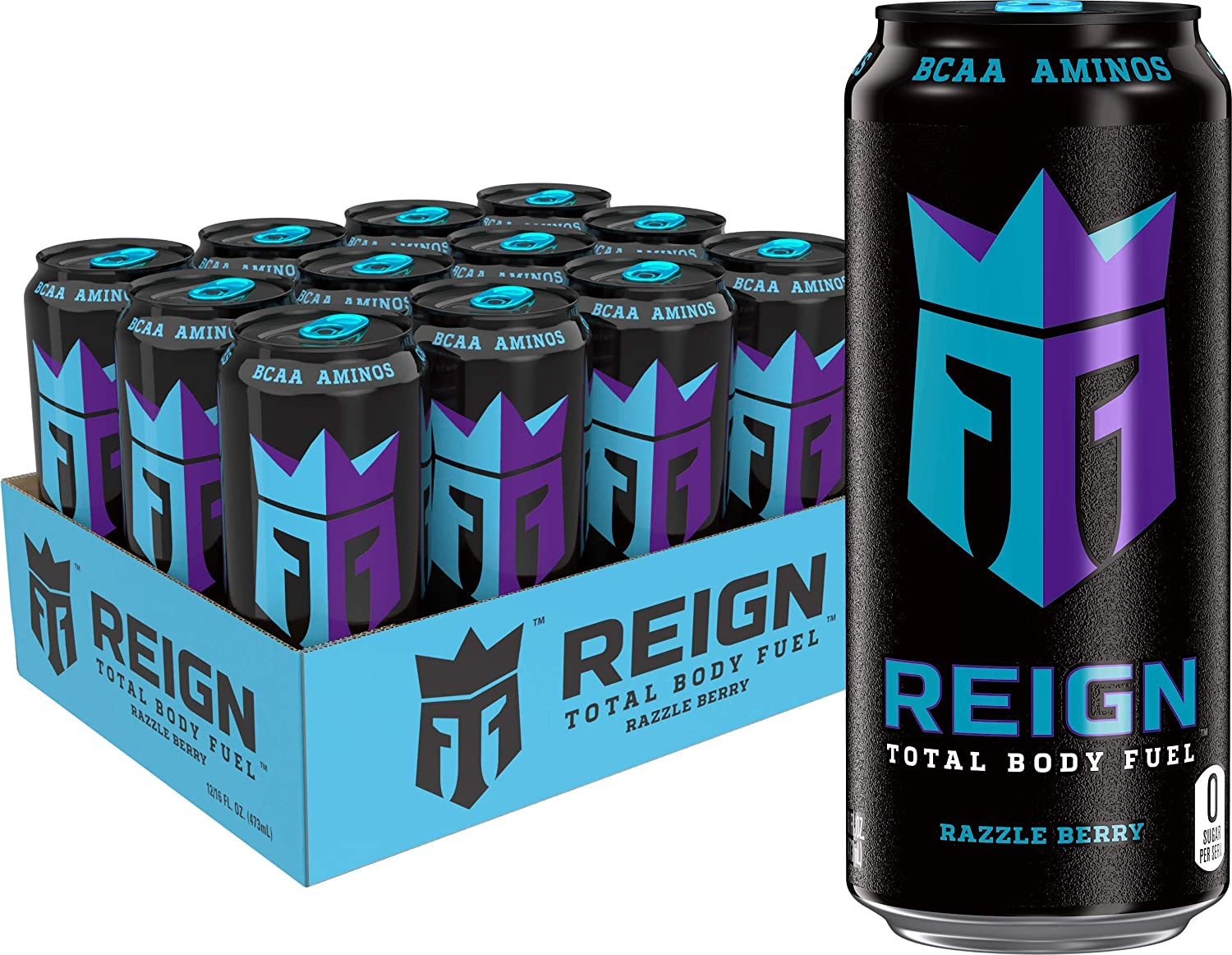 Reign Total Body Fuel, Razzle Berry, Fitness & Performance Drink, 16 Oz (Pack of 12)