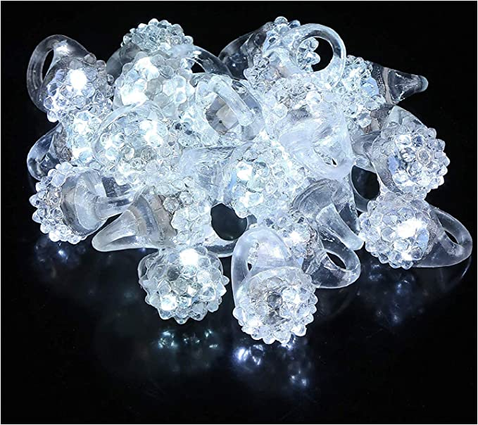Soft Jelly Pump Light Up Rings with Flashing Blinking LED Lights 24 pcs