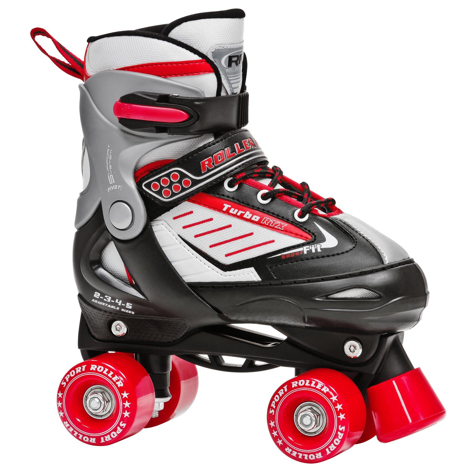 Roller Derby Boy's Turbo RTX Adjustable Roller Skates, Black, Small (12-2)