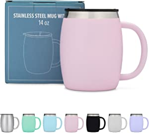 AVITO Stainless Steel Coffee Mug with Lid - 14 Oz Double Walled Insulated Coffee Beer Mugs - Light Pink- Best Value - BPA Free Healthy Choice - Shatterproof and Spill Resistant