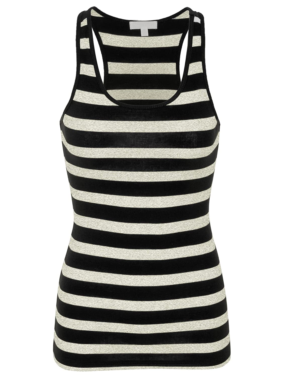 52fc729bdf9cb9 Racerback Striped Rib Tank Top Basic Summer Tank Top made with Cotton  Spandex Free Standard Shipping for Limited Time!