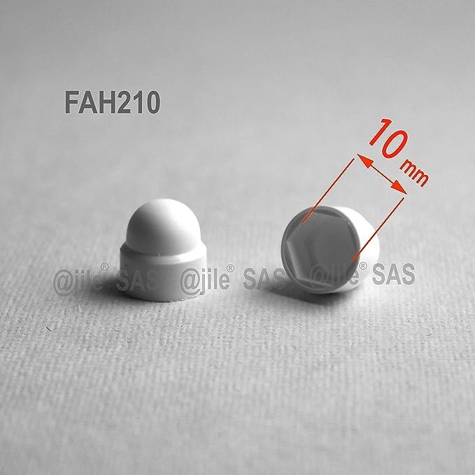capsula protectora para tuercas M12 FAH218-A Tapa encajada abombada para pernos y tuercas 20 piezas 18 mm pl/ástico BLANCO Ajile