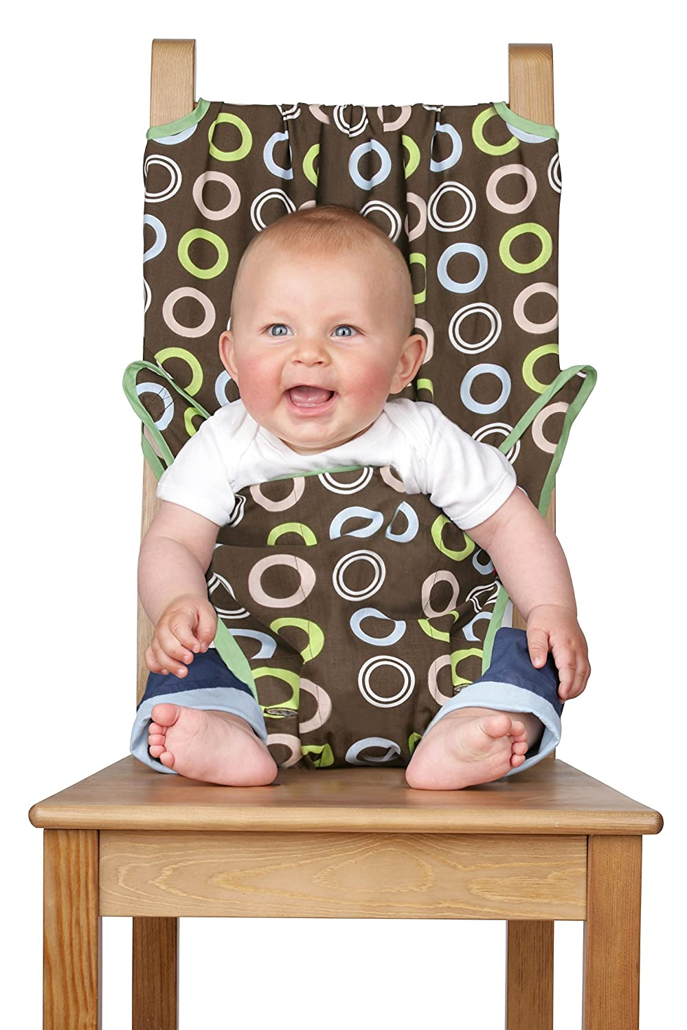 Totseat Chair Harness, The Washable and Squashable, Portable Travel High Chair in Chocolate Chip Trendykid TS005