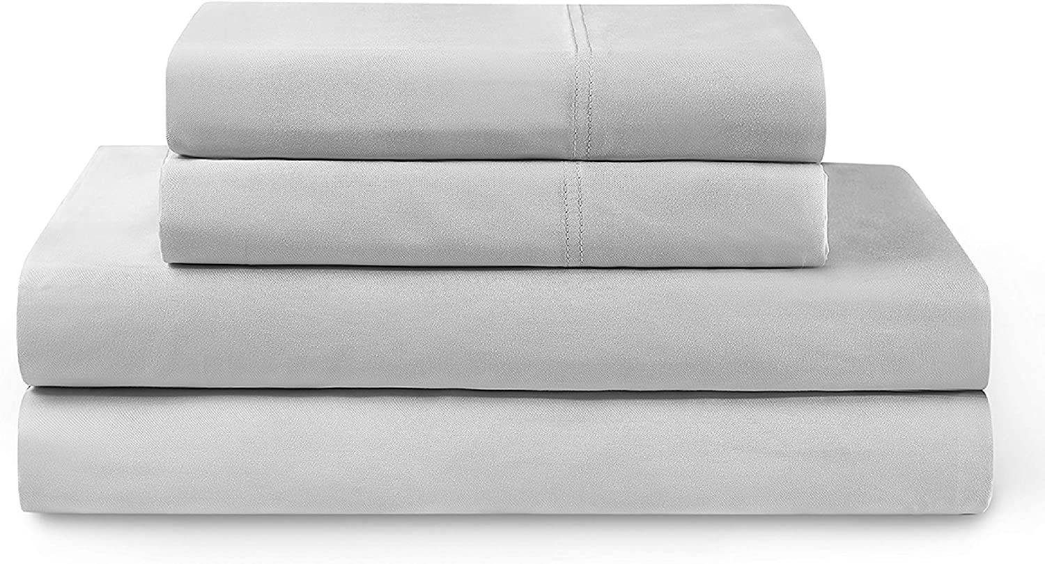 YNM Bamboo Sheet Set - Cozy, Cooling, and Eco-Friendly Bamboo Viscose Sheets Collection, 4-Piece Set Includes Flat Sheet, Fitted Sheet, and 2 Pillowcases - Queen, Light Grey
