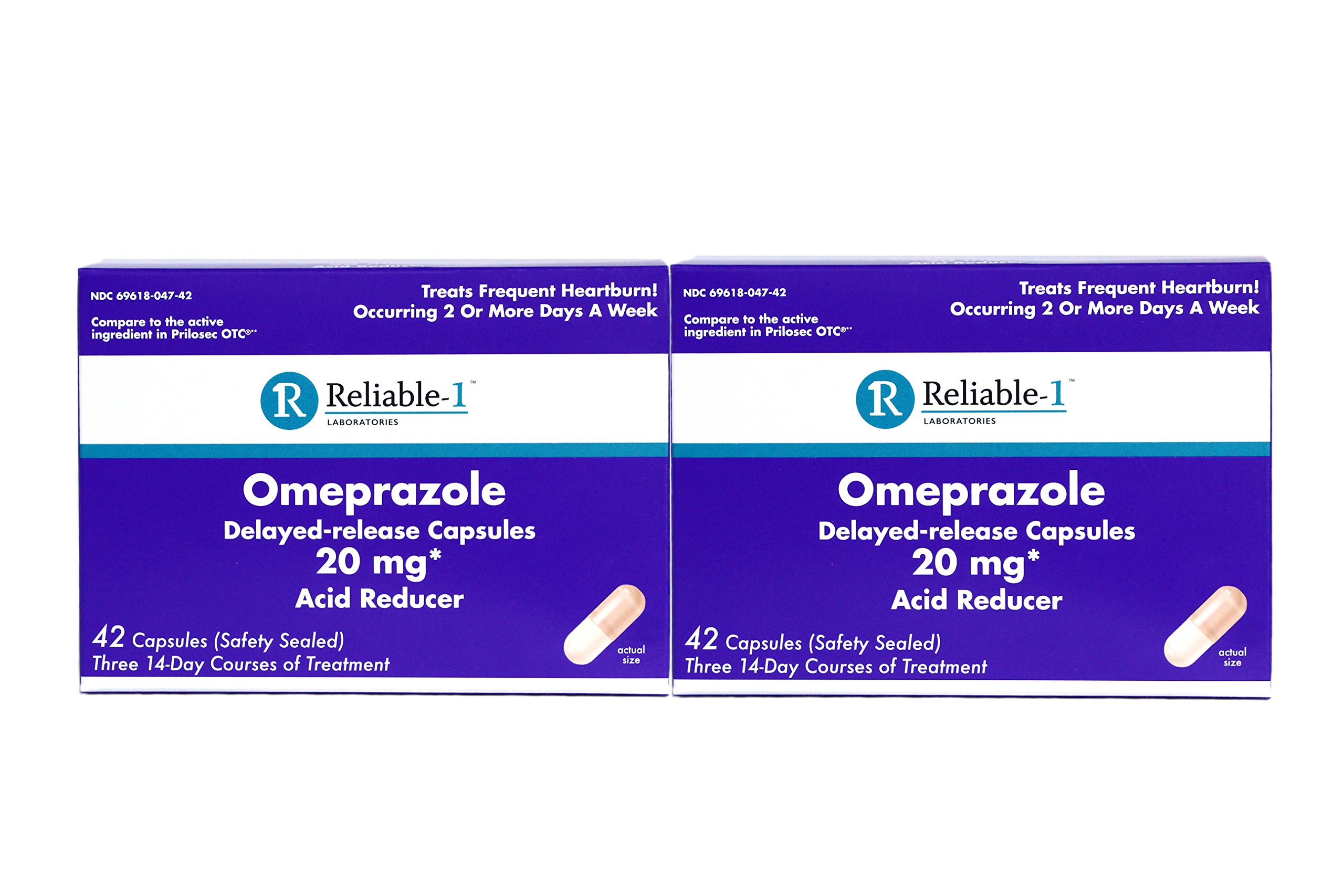 Reliable-1 Laboratories Omeprazole Delayed-Release Capsules 20Mg Acid Reducer 42 Count by Reliable-1 Laboratories