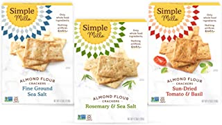 product image for Simple Mills, Snacks Variety Pack, Fine Ground Sea Salt, Rosemary & Sea Salt, Sun-dried Tomato Basil Variety Pack, 3 Count (Packaging May Vary)
