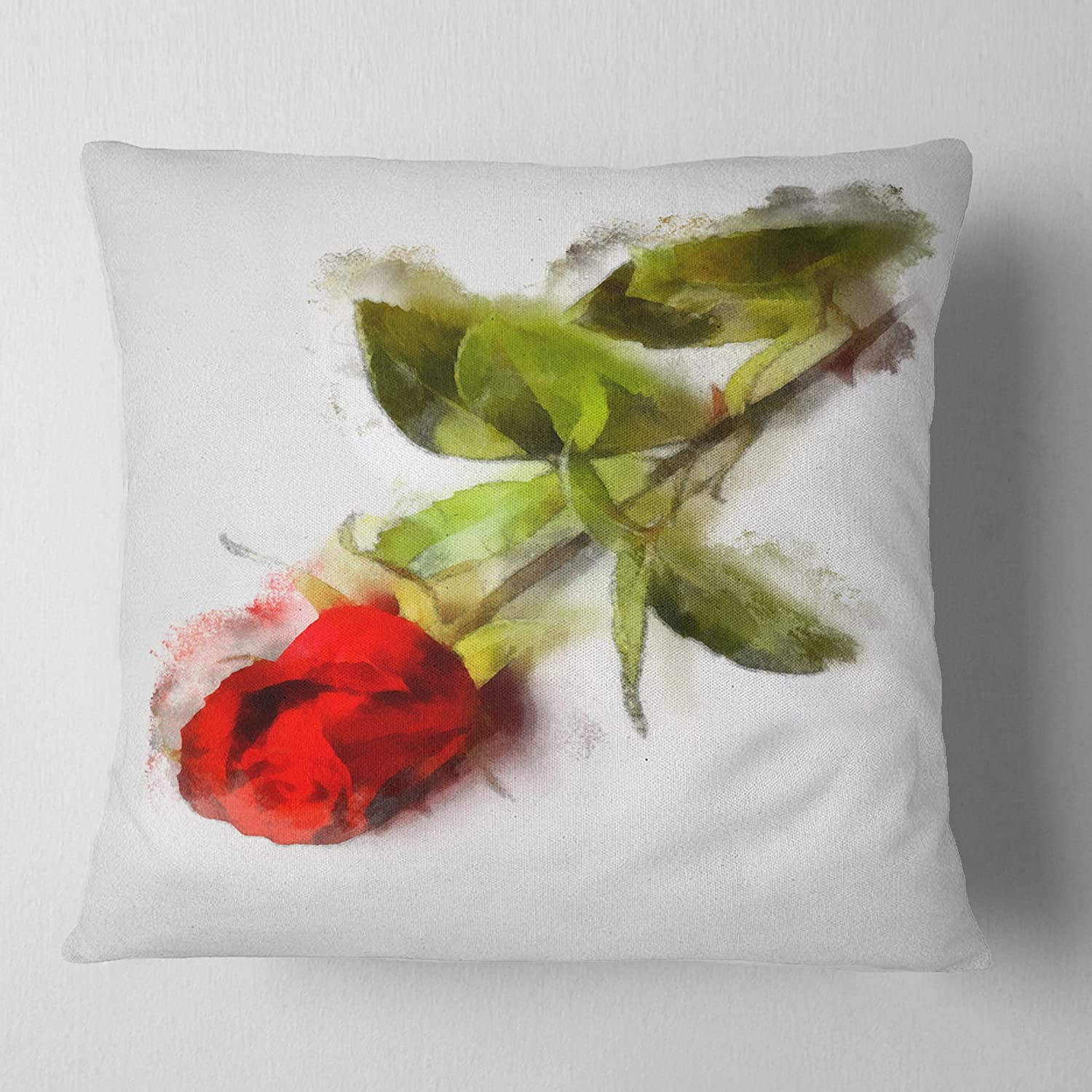 Designart CU13900-26-26 Red Rose with Stem Drawing' Flower Cushion Cover for Living Room, Sofa Throw Pillow 26 in. x 26 in. in, Insert Printed On Both Side