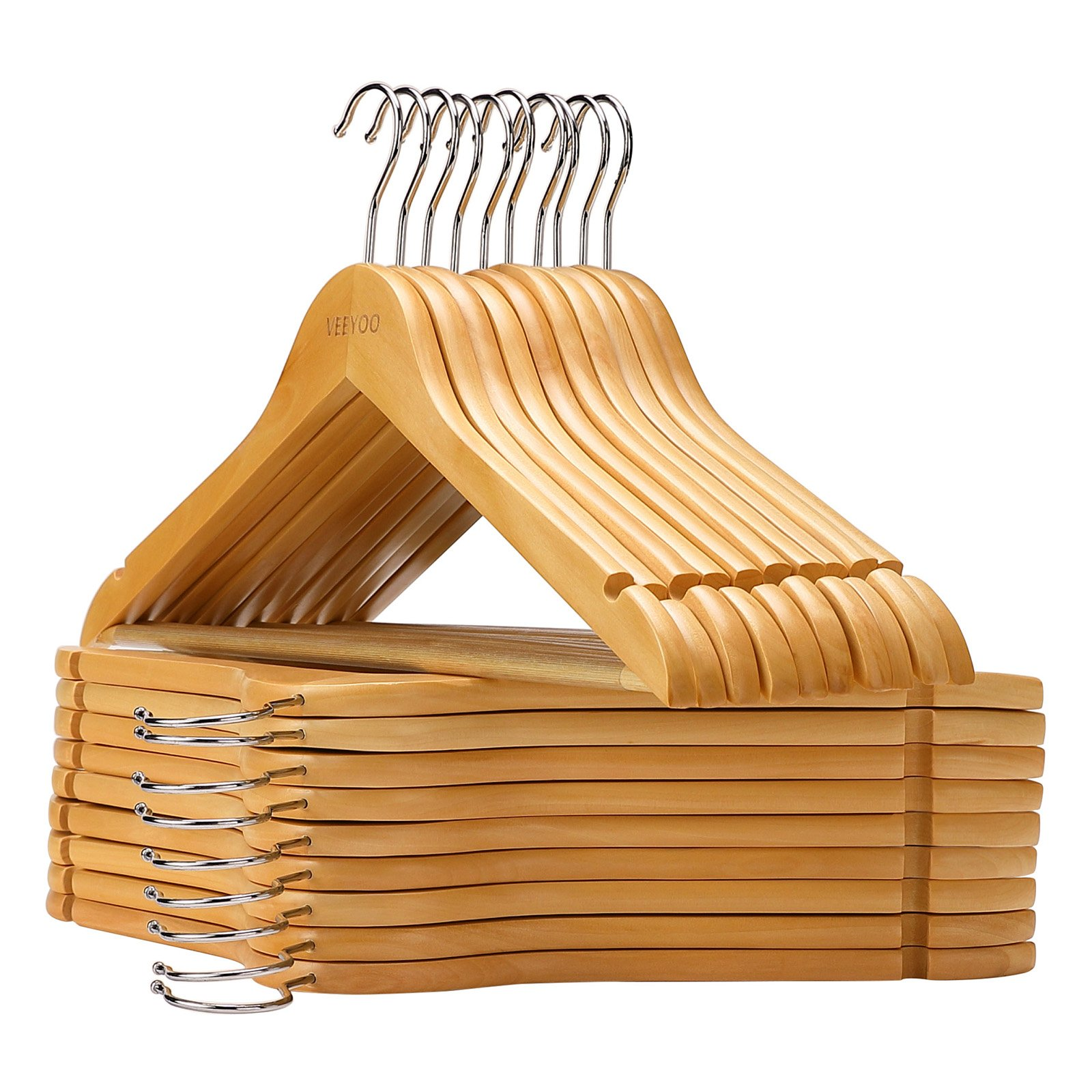 VEEYOO Solid Wooden Suit Hangers (Set of 20) - Non-Slip Bar & Extra Thick Chrome Hook - Sturdy and Durable Coat Jacket Dress Clothes Hangers, Natural Finish