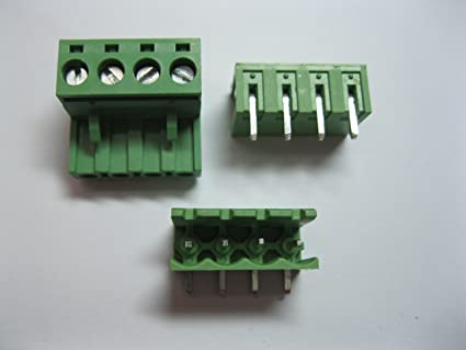 10 Pcs Pitch 5 08mm 4way/pin Screw Terminal Block Connector w/Angle-pin  Green Color Pluggable Type Skywalking