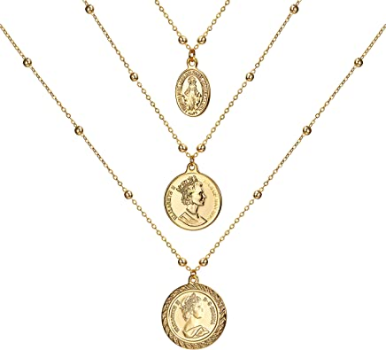 Coin necklace for women Stacking necklaces Gold Coin Pendant Necklace