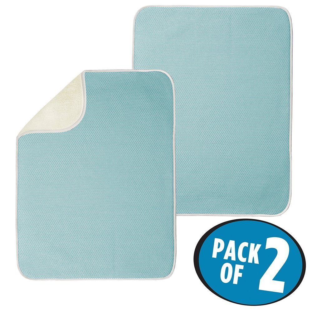 mDesign Set da 2 Tappetino scolapiatti per bicchieri, piatti e padelle – Tappetino scolaposate ad asciugatura rapida – Beige/blu acqua MetroDecor 3102MDK