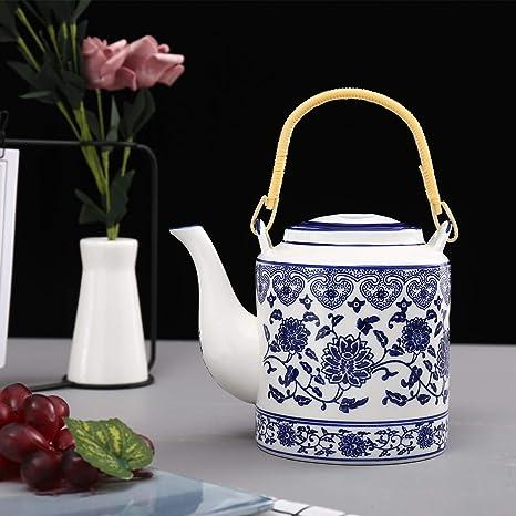 ufengke 30oz Tetera de Porcelana Azul y Blanca,Grande Tetera de Cer/ámica para el T/é de Kungfu,Olla de Elevaci/ón de Cer/ámica de Flores Azules