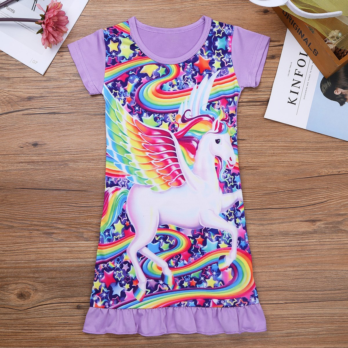 32e865f9cbbee YiZYiF Enfant Fille Licorne Chemise de Nuit Cartoon Pyjama Manches Courtes  Robe de Nuit Robe Licorne ...
