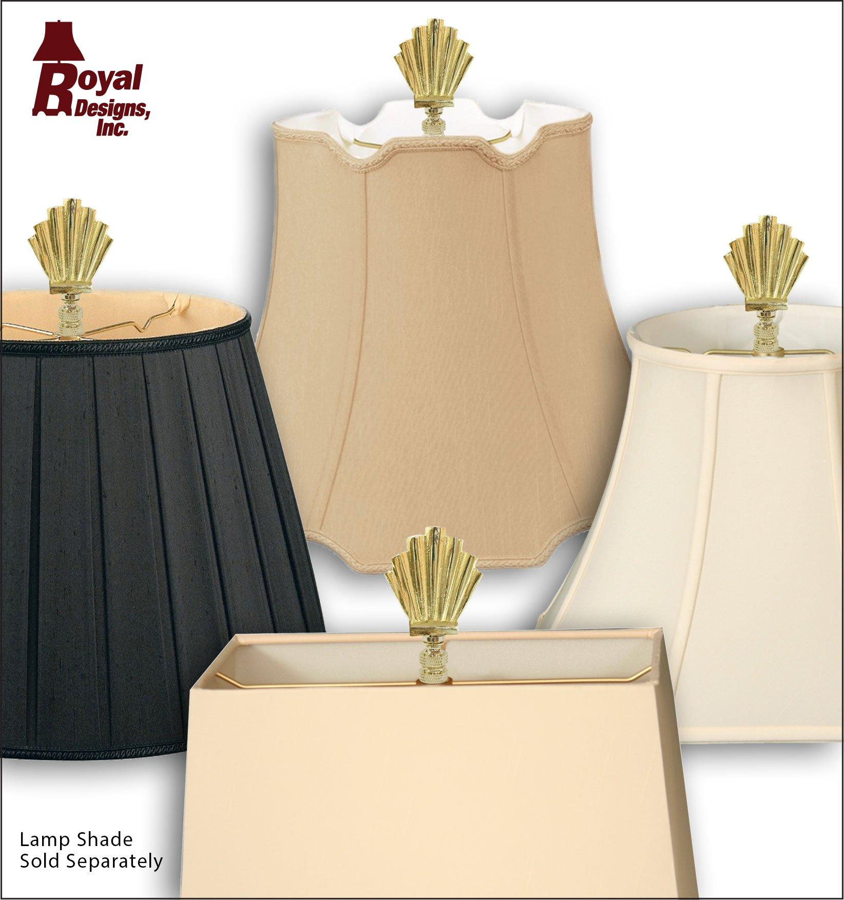 Royal Designs Art Deco Motif Lamp Finial for Lamp Shade- Polished Brass by Royal Designs, Inc (Image #4)