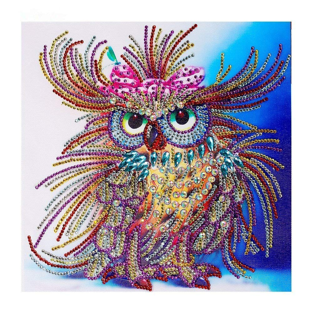 Diamond Painting Owl Handmade DIY Shaped Craft Round Diamond Drawing Living Room Bedroom Embroidered Cross Embroidery Wall Decorative Picture Ornament Yobeyi