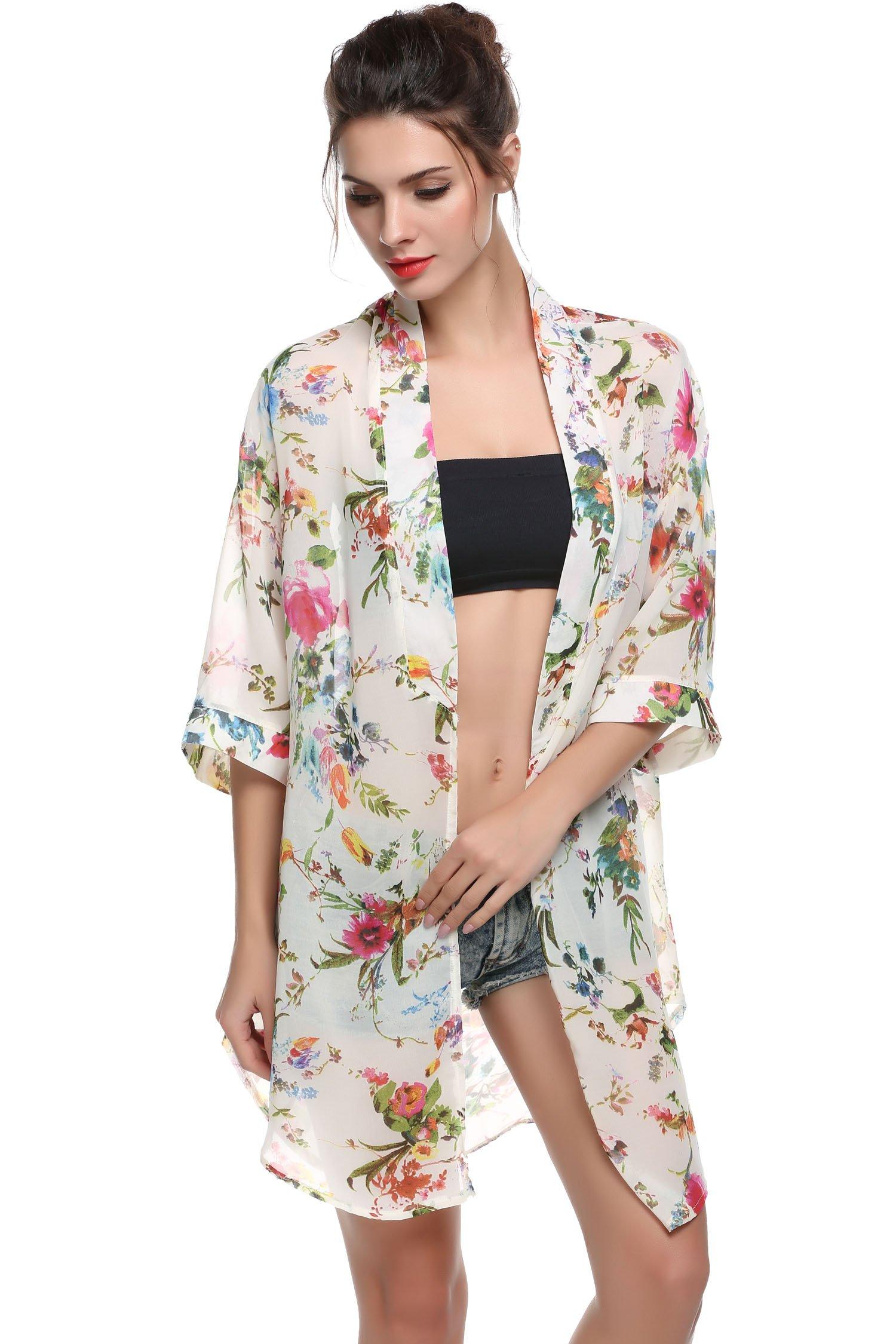 BLUETIME Fashion Women Chiffon Bikini Cover up Kimono Cardigan Coat Bathing Swimwear (XL, White)