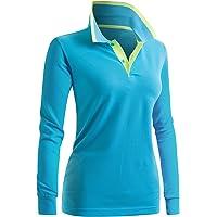 CLOVERY Women's Casual Polo 2-Button Long Sleeve Shirt