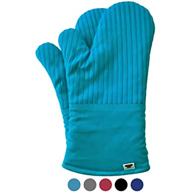BIG RED HOUSE Oven Mitts, with The Heat Resistance of Silicone and Flexibility of Cotton, Recycled Cotton Infill, Terrycloth Lining, 480 F Heat Resistant Pair Turquoise