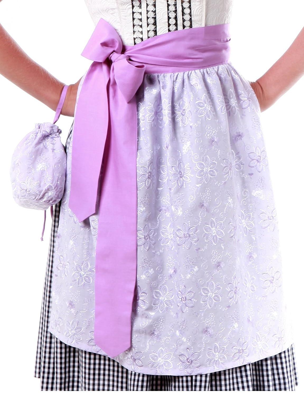 Dirndl Schürze Princessflower mit Beutel - 2014, Tracht, Midi, Fliederfarben mit Blumenstickerei, Gürtel Lila, 55cm lang