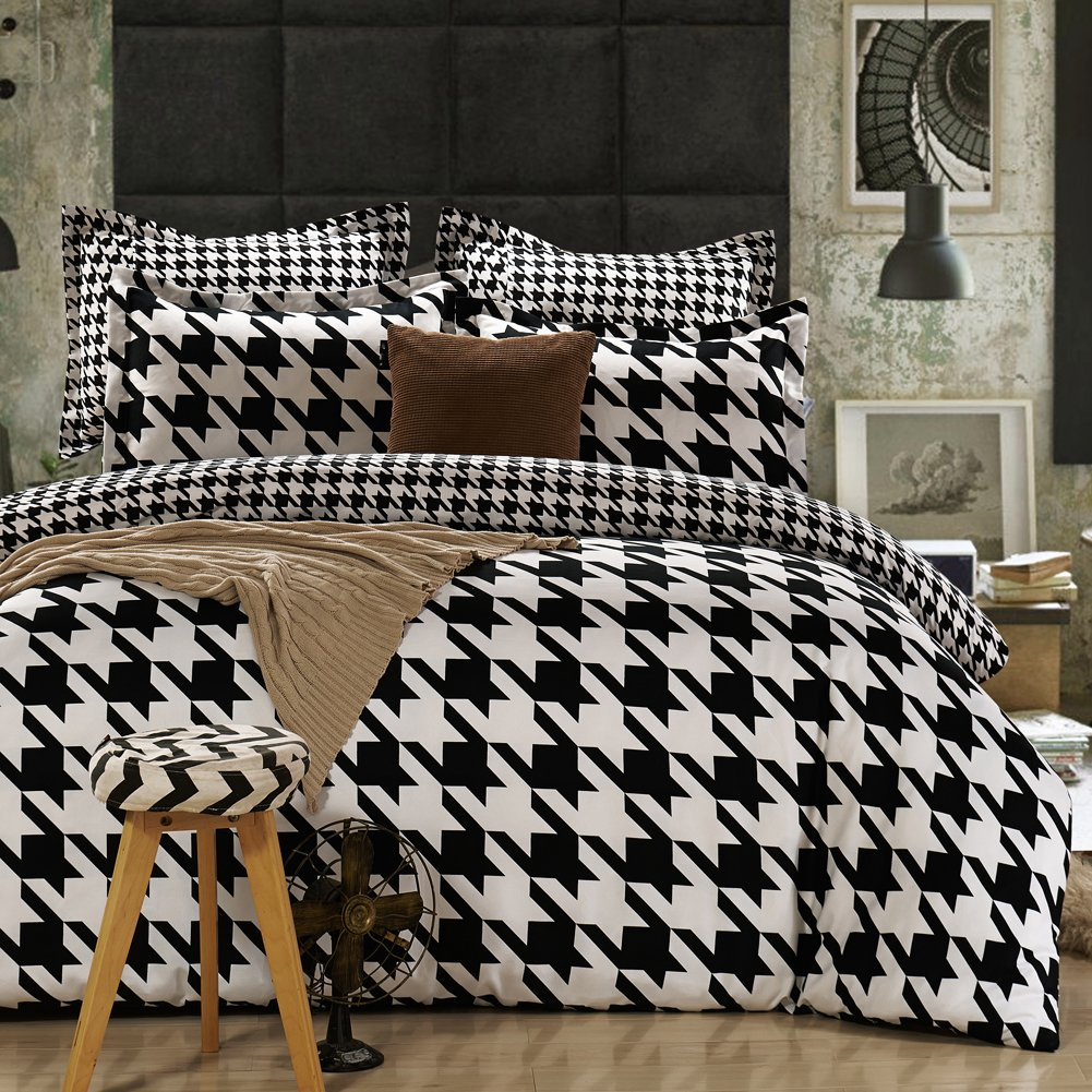 QzzieLife 4PC Microfiber Polyester Bedding Duvet Cover Set