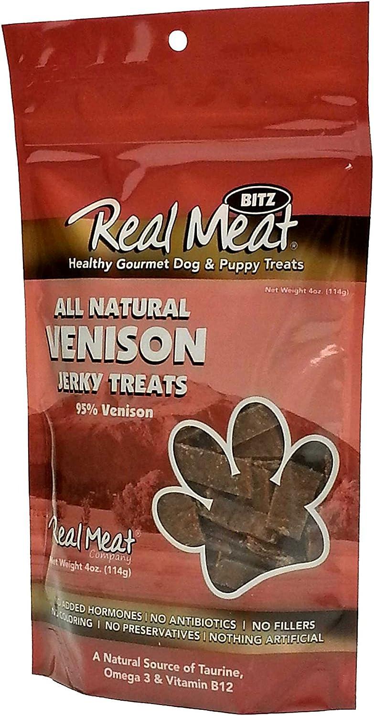 The Real Meat Company Venison Jerky Dog Treats, 4 Ounces Each, 95% Venison