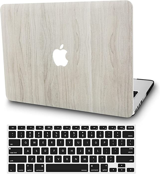"KECC Laptop Case for MacBook Pro 13"" (2020/2019/2018/2017/2016) w/Keyboard Cover Plastic Hard Shell A2159/A1989/A1706/A1708 Touch Bar 2 in 1 Bundle (Pine Wood 2)"
