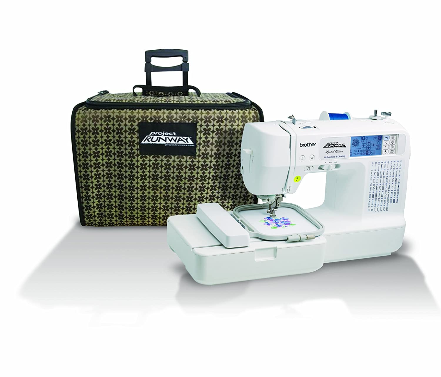 Brother LB6800PRW Scheme Runway Computerized Embroidery plus Sewing Machine Along with Rolling Carrying Case
