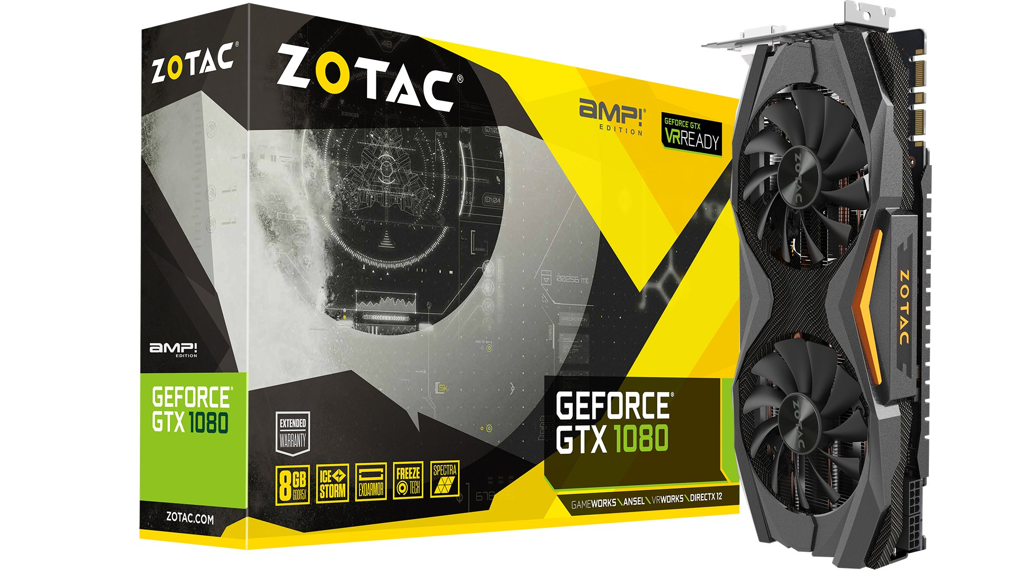 ZOTAC GeForce GTX 1080 AMP! Edition, ZT-P10800C-10P, 8GB GDDR5X IceStorm Cooling, Metal Wraparound Carbon ExoArmor exterior, Ultra-wide 100mm Fans Gaming Graphics Card by ZOTAC