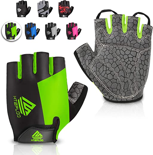 HTZPLOO Bike Gloves Cycling Gloves Mountain Bike Gloves for Men Women with Anti-Slip Shock-Absorbing Pad,Light Weight,Nice Fit,Half Finger Biking Gloves