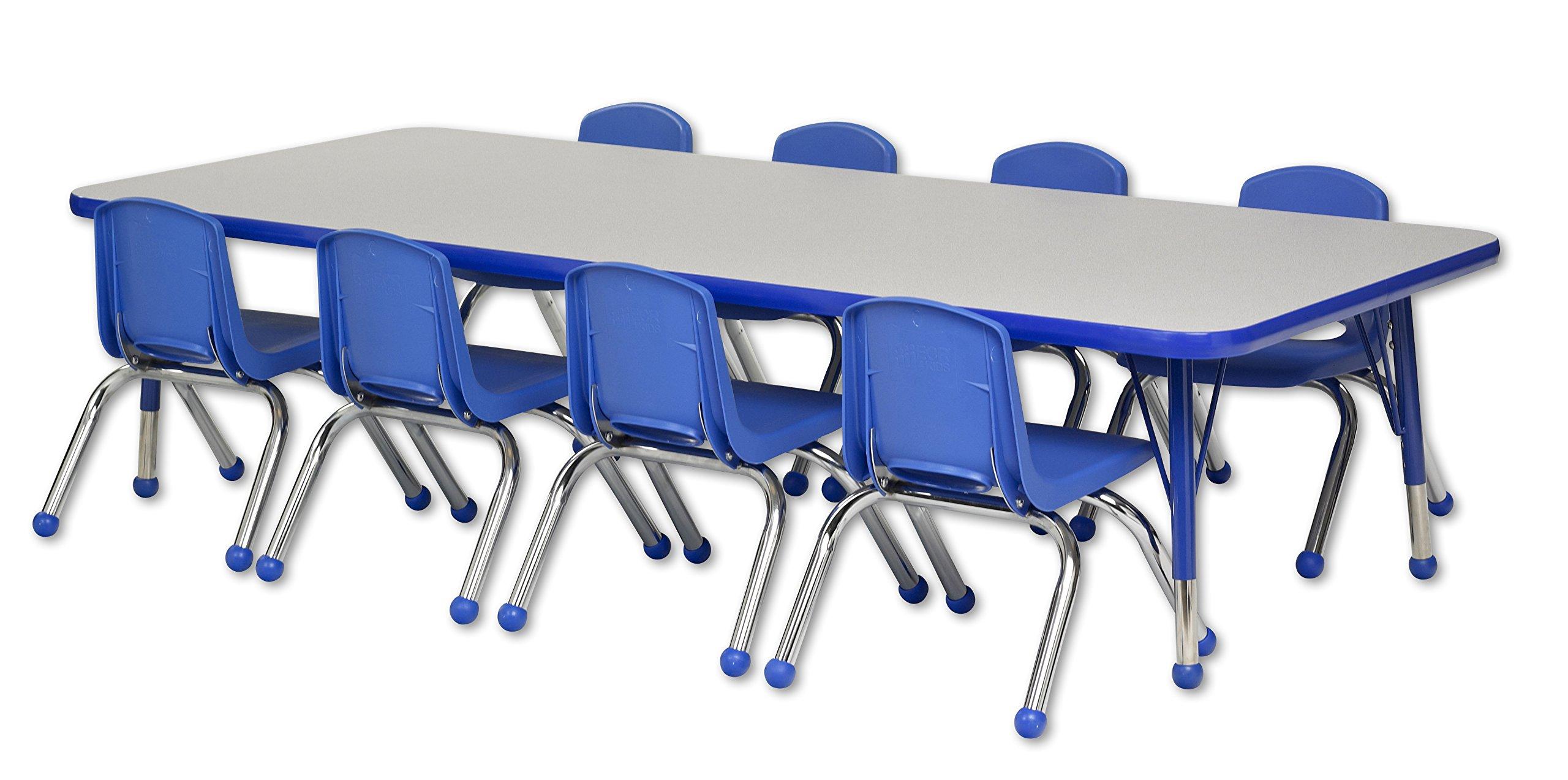 ECR4Kids 30'' x 72'' Rectangular Activity Table, Gray Top/Blue Edge, Toddler Legs/Ball Glides, Eight 12'' Blue School Stack Chairs