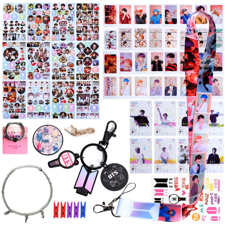 BTS Gifts Set for Army, KPOP BTS Merchandise Set - 32 BTS Lomo Cards / 12 BTS Stickers / 8 BTS Transparent Cards / 1 BTS Brackets / 1 BTS Keychain / 1 BTS Lanyard / 1 Bracelets / 1 Tattoo Stickers