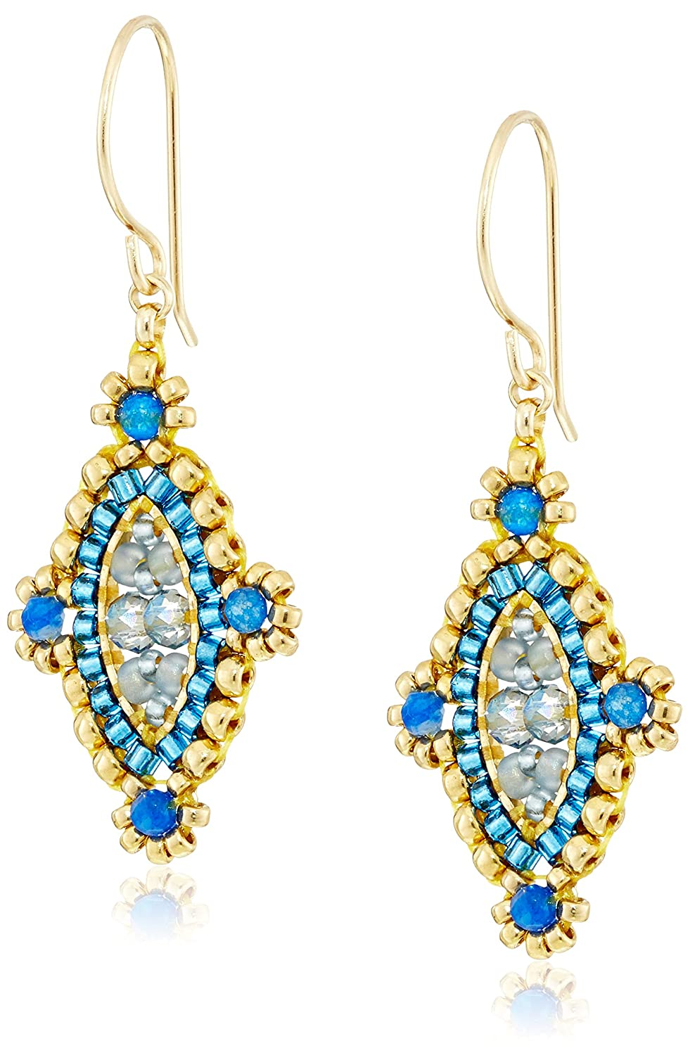 Miguel Ases Mini Lapis-Accented Labradorite Hydro-Quartz Marquise Drop Earrings Inc E47204