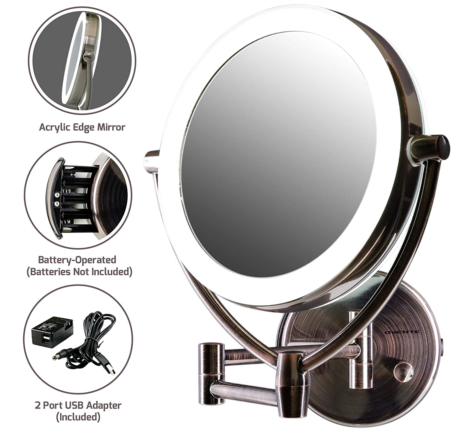OVENTE LED Lighted Wall Mount Makeup Mirror, 7.5 Inch, Battery or USB Adapter Operated, 1x/10x Magnification