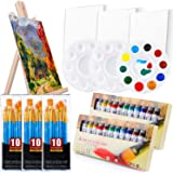 Acrylic Painting Set with 1 Wooden Easel 3 Canvas Panels30 pcs Nylon Hair Brushes 3 PCS Paint Plates and 2 PCS of 12ml…