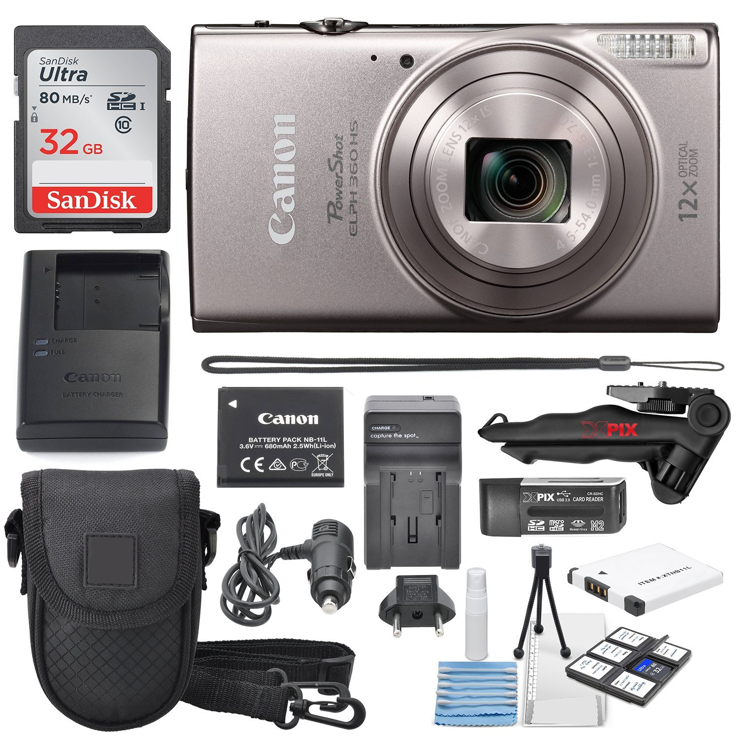 Canon PowerShot ELPH 360 HS(Silver)with 12x Optical Zoom & Built-In Wi-Fi with Deluxe Starter Kit 32GB SDHC +Flexible Tripod + AC/DC Turbo Travel Charger + Extra battery + Protective Camera Case by Canon