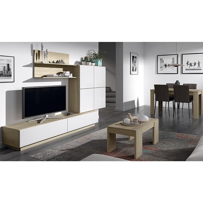 Habitdesign 026665F Mueble de Comedor Mueble Salon Moderno Medidas: 250 x 42 cm de Fondo Acabado en Roble Canadian y Blanco Brillo