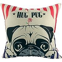 Luxbon - Lovely Hug Pug Dog Cotton Linen Sofa Couch Seat Throw Pillow Case Home Decor Puppy Animal Cushion Cover 18 x 18/45X45cm