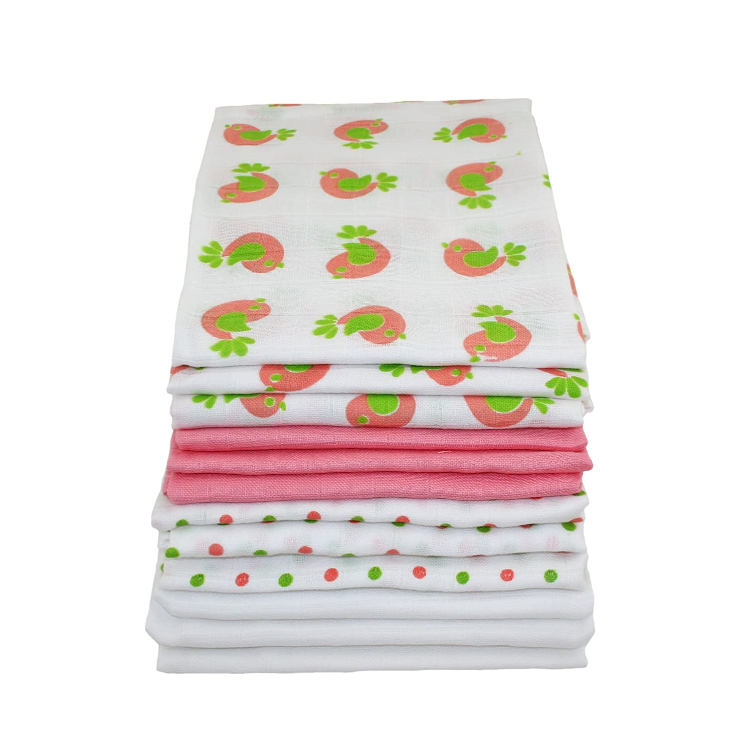 Muslinz Premium High Quality Baby Muslin Squares (Mixed Pink Combo 12pk)