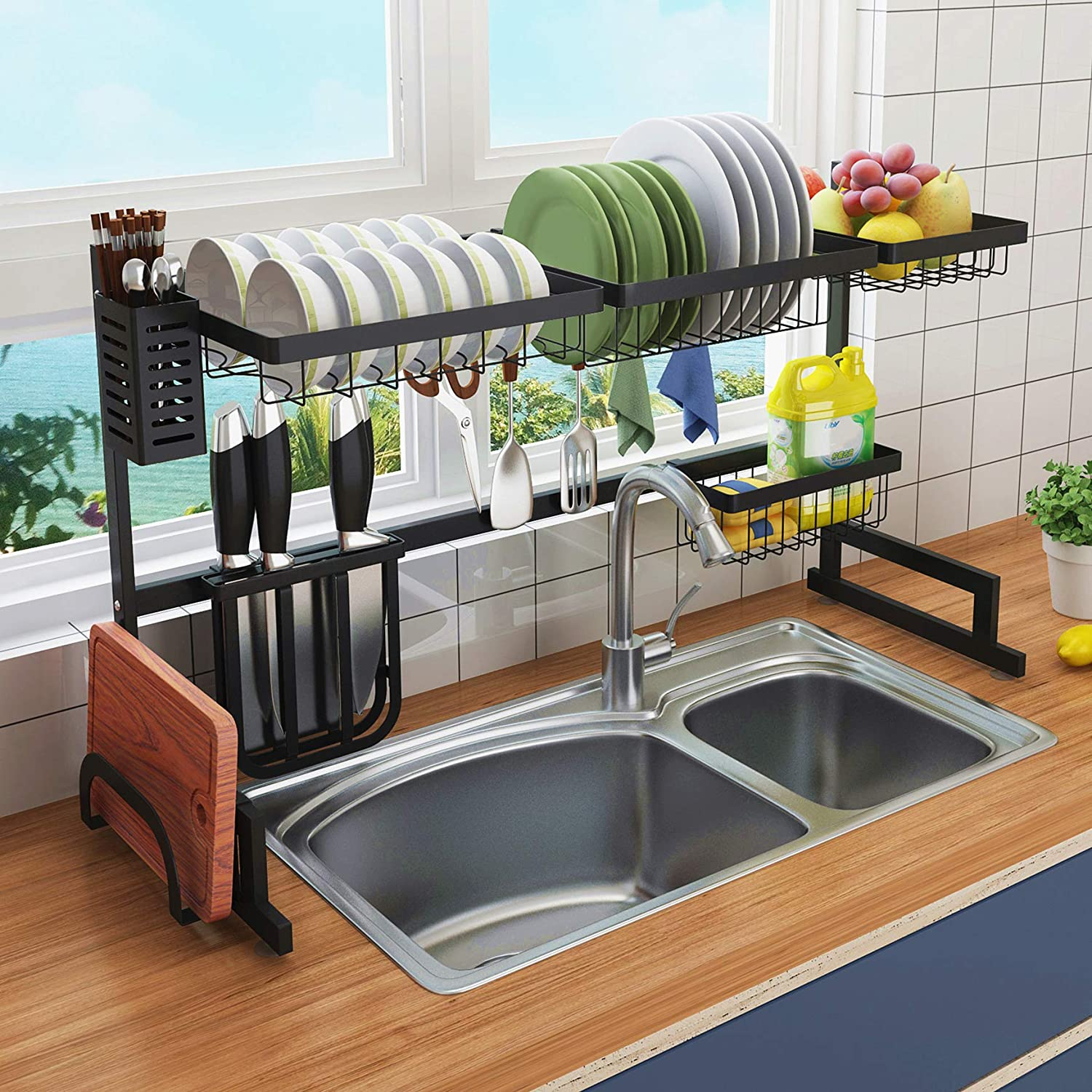 Best Drainer Rack For Dish Sponge Soap Behind Kitchen