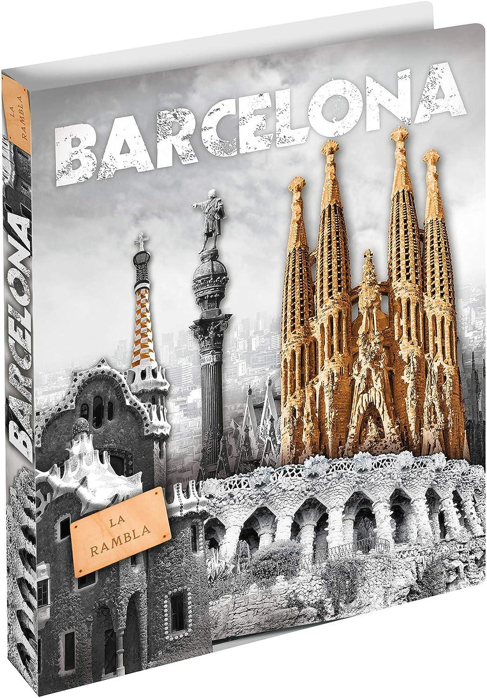 dorso di 25 mm Cartelle ad anelli in plastica per bambini HERMA Raccoglitore ad anelli A4 Citt/à motivo Barcellona