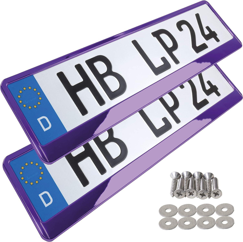 A154 Kennzeichenhalter 2 St/ück Auto Nummernschildhalter violett chrom Kennzeichenverst/ärker Kennzeichenhalterung Nummernschildhalterung Verst/ärker Halter f/ür Kennzeichen Nummernschild edel gl/änzend