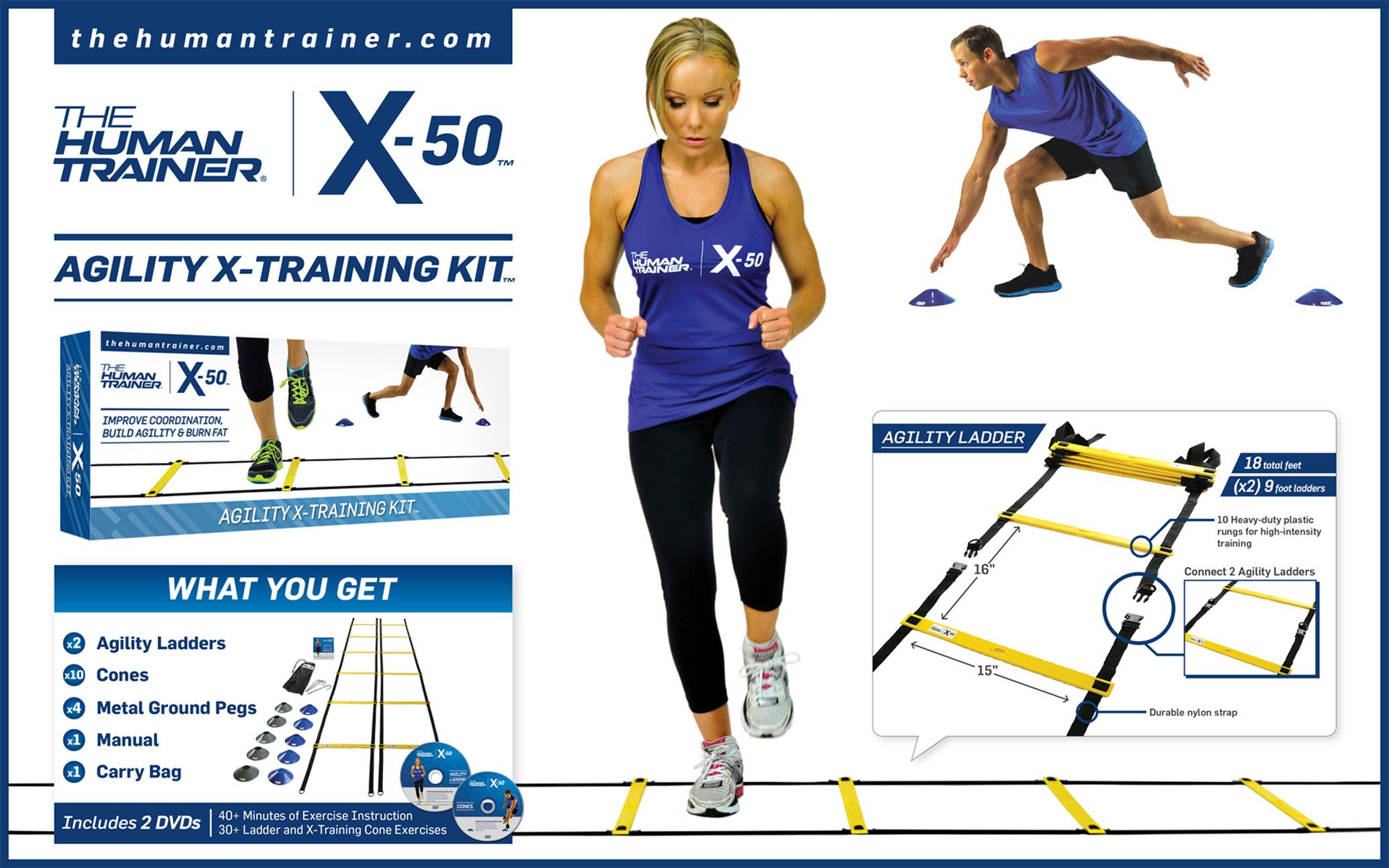 The Human Trainer X-50 Agility X-training Kit (Includes: 2x 9 Foot Agility Ladders, 10x X-training Cones, X2 Dvds, Full Colour Exercise Manual)