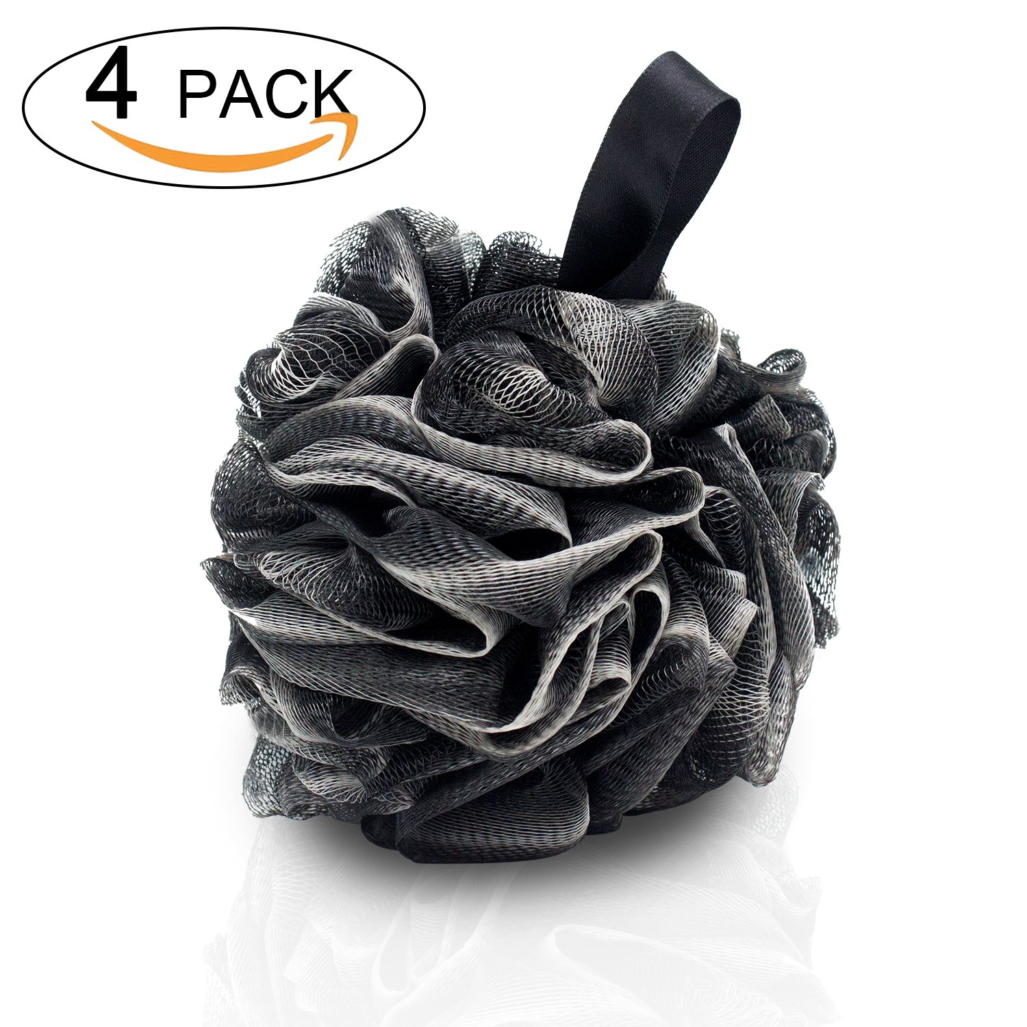 4 Packs Large Bath Loofahs-Eco-friendly Carbonized Bamboo Bath Shower Sponge Mesh Pouf Loofahs Shower Ball Loofahs Bath Sponge-Exfoliate,Cleanse,Soothe Skin (60g/pcs) sz