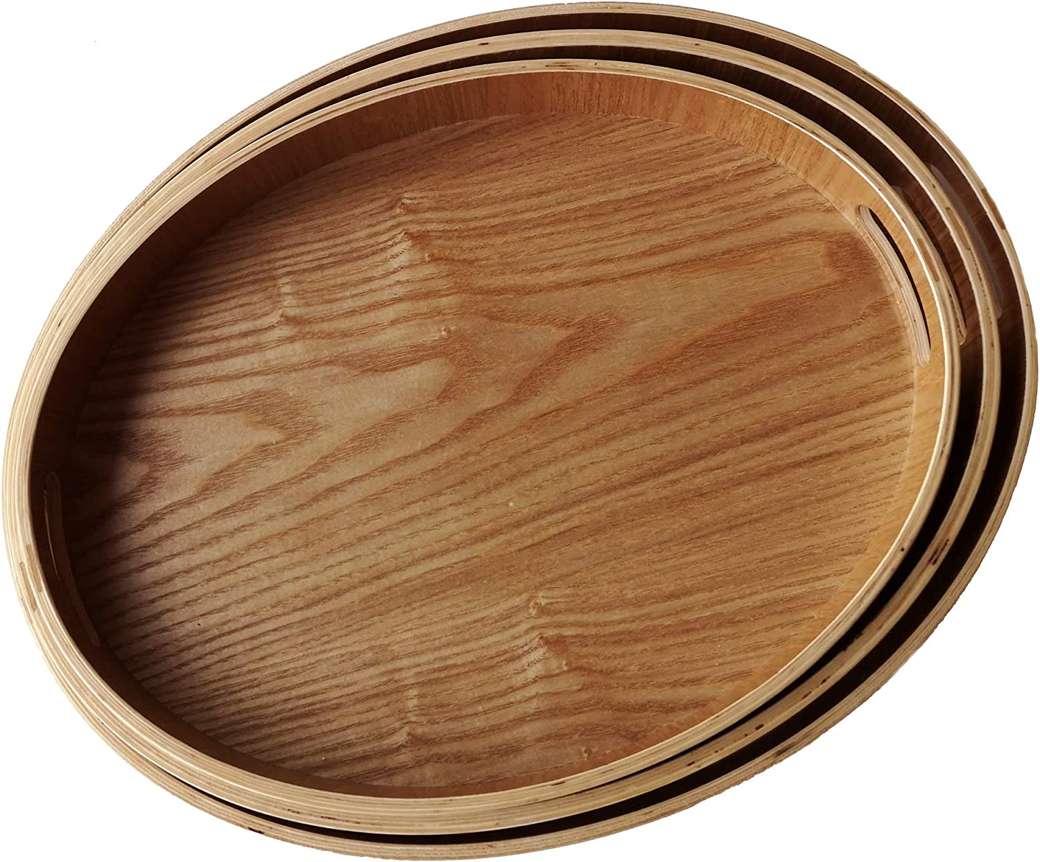 Set of 3 Large Wooden Serving Trays with Handles Nesting Breakfast Serving Trays Decorative Oval Wood Display Tray Set Nested Food Tray Butler Serving Tray for kitchen Party Dinner
