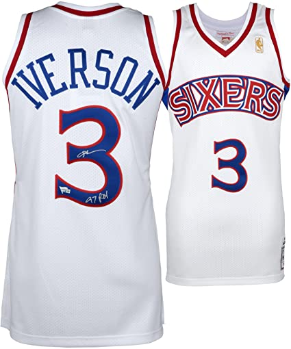 14042c4c5580 ... coupon code for allen iverson philadelphia 76ers autographed mitchell  ness throwback 1996 1997 white authentic jersey