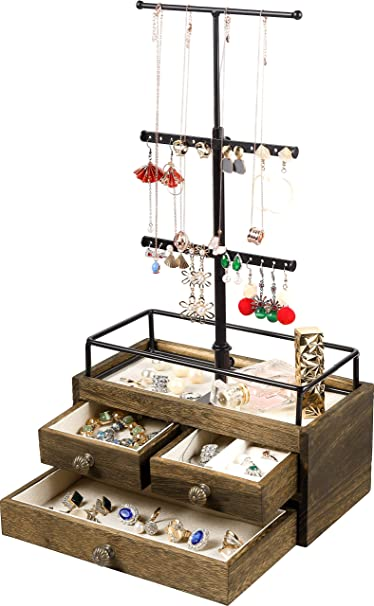Amazon Com Jewelry Organizer Tower With Double Layer Wooden Drawer Storage Box 3 Tier Jewelry Stand For Necklaces Bracelet Earrings Ring Jewelry Tower Jewelry Stand Organizer Metal Wood Home Improvement