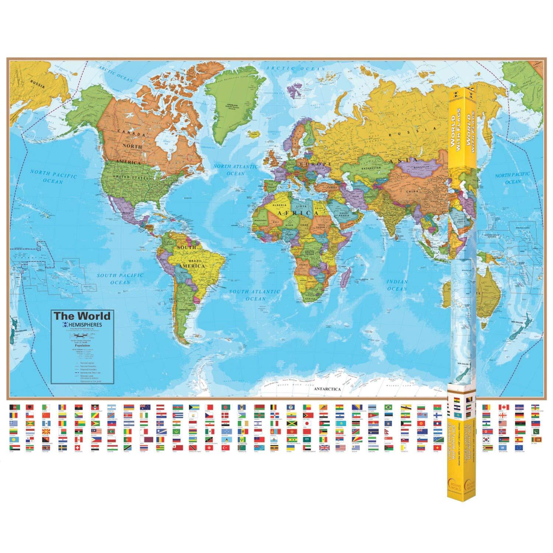 World Map With Hemispheres Amazon.com: Round World Products RWPHM01BN Hemispheres Blue Ocean