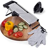 [Upgraded] Mandoline Food Slicer with FREE Cut-Resistant Gloves and Blade Guard – Adjustable French Fry Cutter and Vegetable Slicer, Fruit Slicer, Vegetable Julienne – Premium Stainless Steel Design
