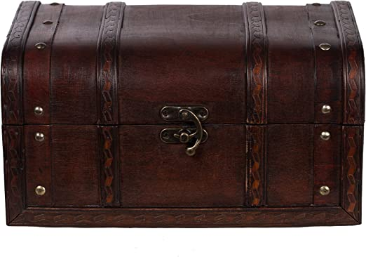 Baúl HD 86002 – Baúl, Cofre baúl, Cofre del Tesoro, madera, caja pirata, pequeño Muebles, acabado antiguo,